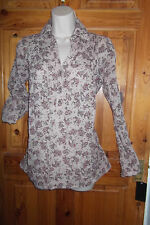 Mango indian gauzy cotton beige blouse w red flowers turn up sleeve BNWT  S 6 8