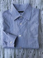 Ermenegildo Zegna Mens shirt size XL long sleeve button down Blue Plaid