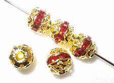 12 6mm Swarovski Rhinestone Beads Gold / Siam
