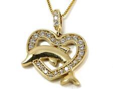 sólido 14k Oro Amarillo Brillante HAWÁI Brillante Delfín Circonita Cúbica