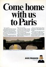 1965 Air France Airlines To Paris and a Bridge over the Seine PRINT AD