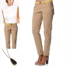 ESPRIT Women's 100% Cotton Slim Chino Pants Beige w Yellow Belt **NEW UK14/AU12