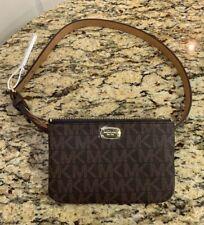 NWT Michael Kors Signature MK Leather Fanny Pack Belt Bag Sz L Brown $78 551749C