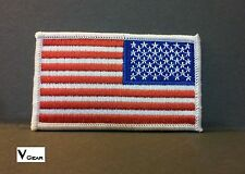 US USA American Flag patch REVERSE WHITE BORDER **BUY 2 GET 1 FREE**
