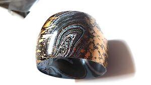 Wide Metal Multi Color Abstract Vintage Bangle Bracelet