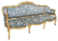French Louis XV Style Parcel Gilt Long Sofa, 19th Century (1800s )