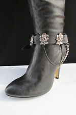 New Biker Western Women Boot Silver Chain Pair Black Leather Straps Rose Flowers