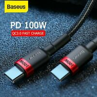 Baseus 100W USB Type C to Type C Charger Cable QC PD Fast Charge Lead Data Cord