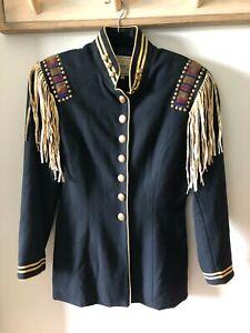 Vintage Military / Cowboy Jacket w/ Fringe, Beading Double D Ranch Wear Texas M