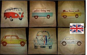 VW Camper Van Mini Beetle Vintage Style Cotton Linen Cushion Covers-FREE P&P