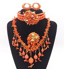 1940s MIRIAM HASKELL Coral Necklace, Spezzati Bracelet, Sherbet Earrings, Pin