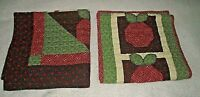 Table Runner Quilt Apples Wall Hanging Handmade Country Burgundy Green Quilted
