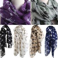 Women Ladies Girls Horse Print Pattern Lace Voile Long Scarf Warm Wrap Big Shawl