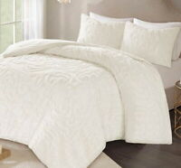 IVORY CHENILLE VINTAGE PLUSH COTTON 3pc COMFORTER SET: Queen, King or Cal King