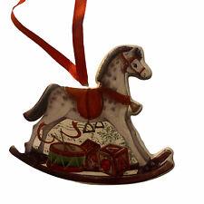 🌟Gisela Graham Rocking Horse Ceramic Xmas Tree Decoration Vintage Style Gift