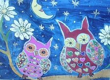 "Fridge Magnet, Colourful Owls at night 4.25"" by 5.5"""