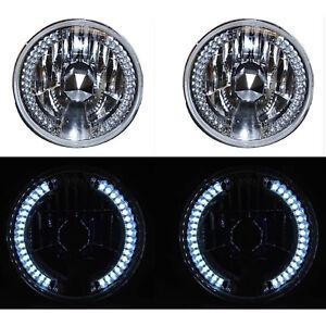 "7"" Halogen White LED Halo Angel Eyes Headlight Headlamp H4 Light Bulbs Pair"