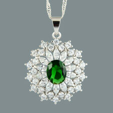 Oval Green Emerald 18K White Gold Plated Slide Pendant Necklace Curb Chain