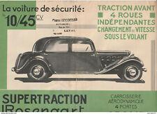 rare dépliant publicitaire pour véhicule Supertraction Rosengart