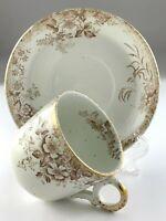 Vintage Teacup and Saucer Transferware Brown Floral Decor U204
