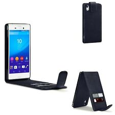 PU Leather Flip Case Cover Black For Sony Xperia M4