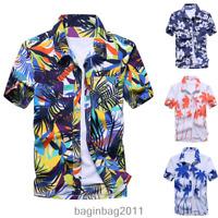Men's Short Sleeve Hawaiian Shirt Summer Floral Printed Beach Tops Blouse M-3XL