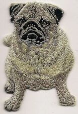 """2 1/8""""x3 1/8"""" Pug Dog Breed Body Iron On Embroidery Patch"""
