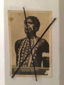 ANTIQUE VINTAGE OLD PHOTO POSTCARD ABORIGINAL MAN FULL WAR PAINT NOSE BONE WP4