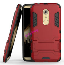 for ZTE Axon 7 Case Rugged Armor Shockproof Hybrid Kickstand Protective Cover Red