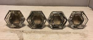 "Lot of 4 Vintage Crystal Glass Hexagon Drawer Pulls 2"" Diameter"