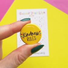 Button badge kindness quote sunny yellow new fast free postage