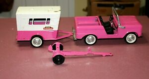 1960s Nylint Rare Pink Sportster Set Ford Bronco - Camper & Tandem Trailer