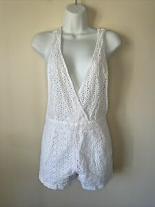 LUSH size S white Cotton Sexy Playsuit Romper