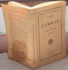 PLATONE FEDONE NOTE TESTO MANARA VALGIMIGLI 1942 LETTERATURA CLASSICA