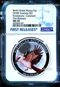 2018 P Berlin Show Australia COLORED Kookaburra Silver NGC MS 70 1oz $1 Coin FR