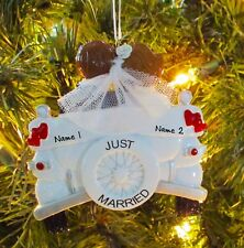 Just Married Wedding Car Couple - 1st Personalized Christmas Wedding Ornament