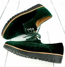 Ladies Womens Velvet Brogues Oxford Lace Up Smart School Formal Office Shoes