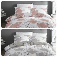 Dreams & Drapes Bedding Set Geometric Floral Easy Care Duvet Cover - Pink / Grey