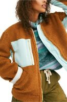 Free People Slouchy Plush Brown Faux Shearling Jacket Coat Sz S NWT $168 ABFB