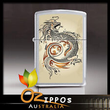 "Zippo ""Dragon Tattoo"" Satin Chrome Finish Lighter 2916 - Free Shipping in au"