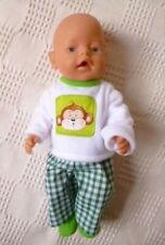 """BJB Doll clothes, Green cheeky monkey outfit  Fit 17"""" Baby Born Brother"""