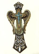 Angel Wings Cross Gold Fleur De Lis Silver Swirls New 14x7 Inches