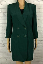 VTG Hugo Buscati Milano Dress Jacket Blazer Green Silk Double Breasted Petite 4