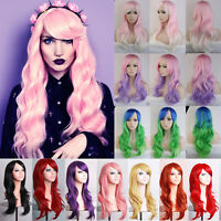 Cosplay Wig Long Curly Straight Synthetic Hair Halloween Costume Pastel Ombre Hh