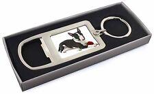 Bull Terrier Dog with Red Rose Chrome Metal Bottle Opener Keyring i, AD-BUT2RMBO