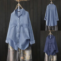 Women High Low Solid Collared Long Sleeve Denim Blue Shirt Buttons Tunic Blouses