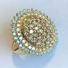 KPJ 10k Yellow Gold Champagne & White Diamond Cocktail Ring Approx. 1.80 CTTW