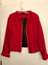 NWOT! Dalia Acrylic / Wool Hot Pink lined Zip up Jacket with rabbit fur trim - s