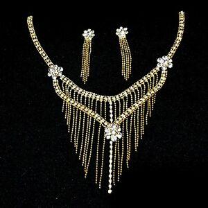 Hochzeit Schmuckset Brautschmuck Ohrringe Kette Halskette Collier Strass Gold