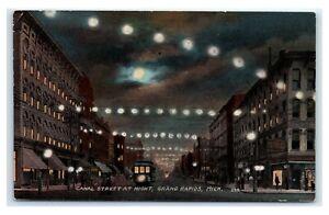 Postcard Canal Street at Night, Grand Rapids MI 1913 T16